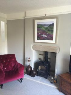 An inspirational image from Farrow and Ball Hardwick White walls and Strong White ceilings and woodwork in a North facing room Farrow And Ball Living Room, Living Room Paint, Home Living Room, White Ceiling, White Walls, North Facing House, Country Cottage Living Room, Tadelakt, Green Curtains
