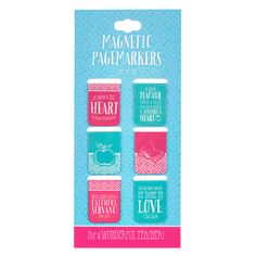 Magnetic Pagemarkers Teacher Pink & Blue | bookmark magnets | Christian Art Gifts