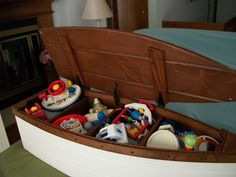 Finished Wood Boat Toy Box Nautical Chest Hand Crafted Bookshelf Canoe
