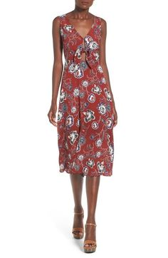 ASTR Tie Front Midi Dress available at #Nordstrom