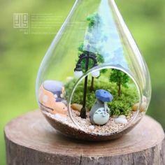 freeshipping Crystal glass lobbing flower bryophytes totoro meat flower bonsai plant bonsai bryophytes bottle