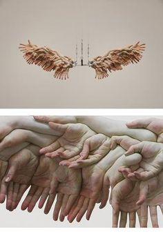 Xooang Choi The Wings sculpture Art Inspo, Kunst Inspo, Inspiration Art, Art Bizarre, Weird Art, Art Sculpture, Abstract Sculpture, Wire Sculptures, Bronze Sculpture