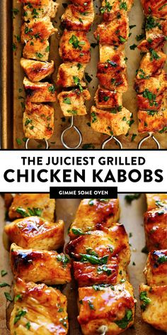 The juiciest grilled chicken kabobs Easy to make with whatever seasoning blends you prefer and always so tender and flavorful Perfect for easy summertime dinners on the grill Grilled Chicken Kabobs, Steak Kabobs, Shrimp Kabobs, Marinade For Chicken Kabobs, Grilled Food, Chicken Kebabs In Oven, Oven Kabobs, Grilled Chicken Sides, Cooking Recipes