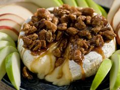 Pecan Glazed Brie - http://www.foodnetwork.com/recipes/paula-deen/sugar-and-nut-glazed-brie-recipe/index.html