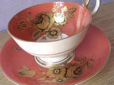 RARE Antique Aynsley gold roses tea cup set, orange tea cup and saucer, English tea cup, orange and gold bone china tea cup, Mid Century
