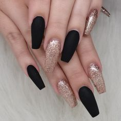 best 63 acrylic nail designs 2019 - Black And Gold Nails - Black Acrylic Nails, Black Coffin Nails, Summer Acrylic Nails, Best Acrylic Nails, Black Nails With Glitter, Pink Glitter, Cute Nails, Pretty Nails, My Nails
