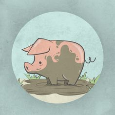 """Muddy"" (Pig Illustration) Graphic Design Exercise by Candice Oates Pig Illustration, Illustrations, Really Cool Drawings, Art Reference, Character Reference, Pig Drawing, Design Art, Graphic Design, Cute Pigs"