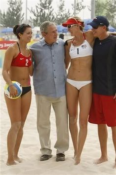 President George W Bush with Misty May-Treanor, Kerri Walsh Jennings and hubby