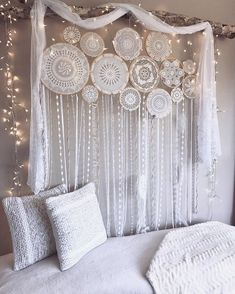 """©✨""""I set out on a journey of love, seeking truth, peace and understanding. I am still learning.""""✨#clearquartzHappy Monday dreamers! Photo featuring our custom made 14 set wall mural ✨ For more Handmade Dreamcatchers and Wall Murals see our bio for the website link. www.dreamcatcher-collective-australia.com #Dreamcatcher #crochetdreamcatcher #wallmural #doilydreamcatcher #crochetwallmural #dreamcatchercollage ✨#TrueNorthDreamcatcher #dreamcatchercollective"""