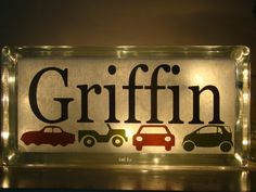 This is cute and so original!   Boys glass block personalized night light - old car theme- $22.00