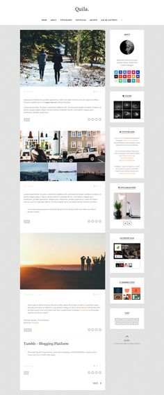 Quila is a content-focused clean Tumblr theme. Clean and minimalist design that make your blog more elegant perfect for bloggers and other creative folks. Has some interesting features that are very easy to be customized as well as support the various social media.