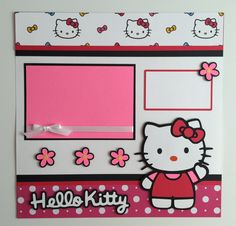 """Handmade 12""""x12"""" Premade """"Hello Kitty"""" Scrapbook Layout, Kitty, Cat by JuliesPaperCrafts on Etsy"""