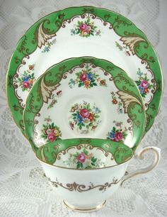 Vintage Tuscan Blenheim Cup & Saucer & Plate: Green Floral Fancy. English Bone China made by Tuscan, England between 1947 & 1961