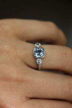 Prasiolite Green Amethyst and White Sapphire Ring by onegarnetgirl