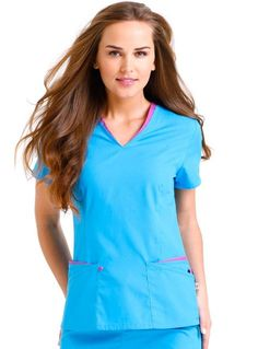 Improve your style with this trendy medical uniform from Urbane scrub. This scrub top features a contrast layered v-neckline along with front and back waist darts.