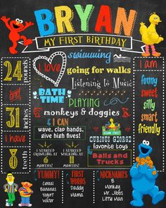 Sesame Street Elmo First Birthday Chalkboard by HaleyMadisonDesign