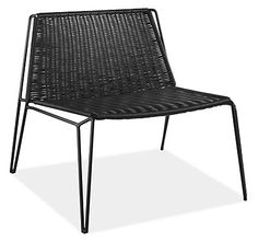 The Penelope outdoor chair brings a modern, architectural look to your outdoor space. Durable, waterproof plastic is woven across a powder-coated steel frame with hairpin-style legs.