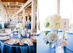 Elegant white centerpieces with a nautical style // photo by inContrast Images