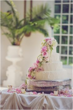 Four tiered strawberry + marble #wedding cake!   An Inseparable Fairytale ((Kelly + Mitch))   Sassy Chicago Weddings
