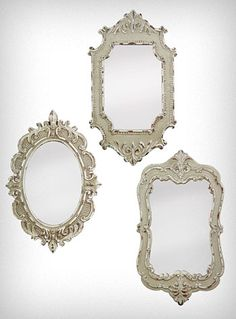 Antiqued Vintage Style Mirrors Set