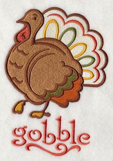 Thanksgiving Gobbler Turkey Machine Embroidery Designs at Embroidery Library! - Free Machine Embroidery Designs