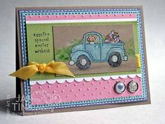 Greeting Card - Eggstra Special Easter Wishes Happy Easter Truck with Eggs Handmade in Pink Blue Green Yellow Kraft