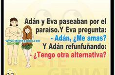 Chistes de parejas - Adán y eva paseaban por el paraíso Ecards, Humor, Halloween, Memes, Sentences, Marital Status, Adam And Eve, Good Jokes, Charms