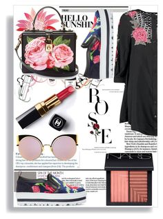 """""""Chic Casual - Rose"""" by themistydream ❤ liked on Polyvore featuring MSGM, Boohoo, Chanel, NARS Cosmetics, Dolce&Gabbana, Fendi, Fall, floralprint, shirtdresses and fallfashion"""