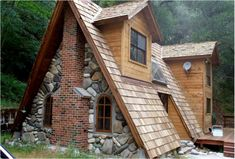 Cabins and Cottages: Unique A-frame Cabin with Stone, Brick and Wood - . Brick And Wood, Wood Stone, Slate Stone, Cabins And Cottages, Small Cottages, Small Houses, Cob Houses, Earthship, Tiny House Living