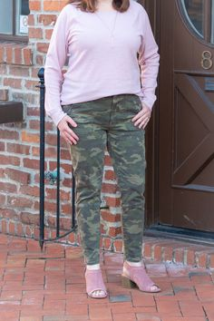 Camo Pants 3 Ways - Paired with a Pink Top - Dressed In Faith Camo Jeans, Camo Patterns, Fashion For Women Over 40, Pink Tops, V Neck Tops, Military Jacket, Cool Outfits, Faith, My Style