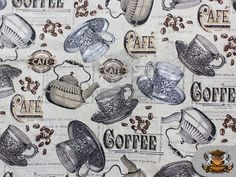100  Cotton Print Fabric  CAFE COFFEE  / 45 Wide / by FabricEmpire, $7.98