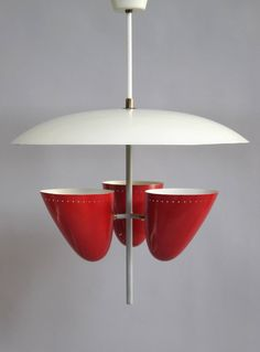 Italian Mid-Century Articulated Triple Shade Chandelier image 2