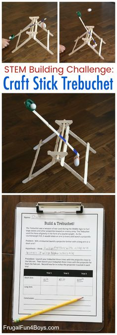 Build and Test Your Own Craft Stick Trebuchet - Frugal Fun For Boys and Girls - Here's a fabulous STEM activity for kids! Build a working Trebuchet out of craft sticks. Science Activities For Kids, Steam Activities, Stem Science, Science Experiments, Science Classroom, Crafts For Boys, Craft Projects For Kids, Children Projects, Craft Ideas