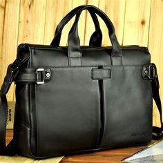 Santagaolf Leather Solid Casual Large Capacity Men Briefcase