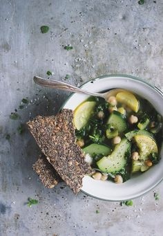 Summer Squash Soup with Chickpeas + Oregano Seeded Crackers | @withfoodandlove