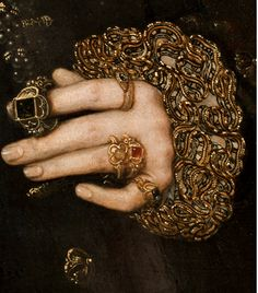 Mary Nevill, Lady Dacre; Gregory Fiennes, 10th Baron Dacre (detail)  by Hans Eworth  oil on panel, 1559