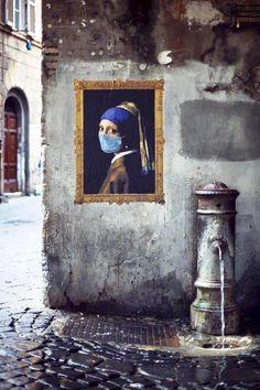 Vvermeer the girl with the pearl earring Urban art collage la ragazza con l' orecchino di perla #street art #Rome, #Italy
