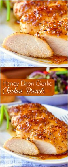 Honey Dijon Garlic Chicken Breasts. Boneless skinless chicken breasts quickly baked in an intensely flavoured honey, garlic and Dijon mustard glaze.