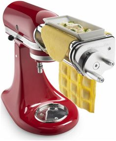 Use the power of your KitchenAid® Stand Mixer to bring the taste of fresh pasta into your home. The ravioli maker lets you manually guide two sheets of fresh pasta through the hopper, filling the pockets with whatever combination of ingredients you choose Cool Kitchen Gadgets, Small Kitchen Appliances, Kitchen Items, Cool Kitchens, Kitchen Aide, Kitchen Dining, Kitchen Tools, Ravioli, Cooking Gadgets