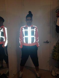 Cassie in a hawt glow jacket...