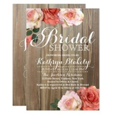 268 best bridal shower invitations and ideas images on pinterest in romantic rustic roses bridal shower invitations rustic roses bridalshower filmwisefo
