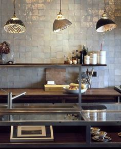 zellige - glazed Moroccan tiles that are handmade and hand cut by artisans using ancient techniques from organic regional clay and glaze pigments. kitchen by stiff trevillion New Kitchen, Kitchen Interior, Kitchen Dining, Kitchen Decor, Bakery Kitchen, Kitchen Lamps, Kitchen Pendants, Bathroom Interior, Tile Countertops