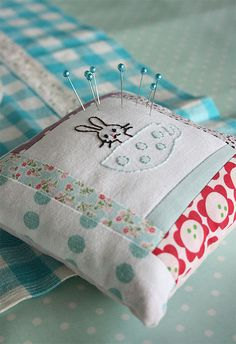 Sweetest quilted and embroidered pin cushion