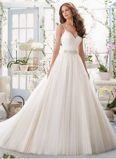 Ball-Gown V-neck Chapel Train Tulle Wedding Dress With Appliques Lace
