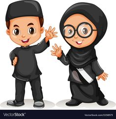 Muslim boy and girl in black costume Royalty Free Vector Muslim Family, Muslim Girls, Couple Cartoon, Cartoon Kids, Ribbon Png, Certificate Design Template, Islamic Cartoon, Anime Muslim, Hijab Cartoon