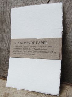Handmade Paper from upcycled White cotton T-shirts, no dyes or additives. Eco- Friendly and Archival, 8 1/2 x 5.5 inches