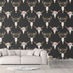 Antler Peel and Stick Wallpaper Trending Black White Sharp Shirter - Smooth Wall Decal / 1 roll: 24W x 120H