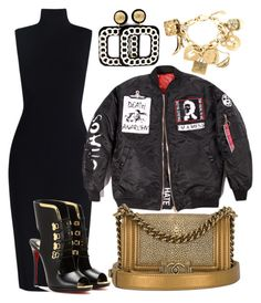 """""""Push Through"""" by shareyalaniyah ❤ liked on Polyvore featuring Christian Louboutin, Chanel and Moschino"""