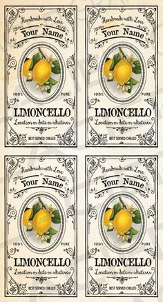 This item is unavailable Canning Labels, Bottle Labels, Bottle Packaging, Food Packaging, Printable Labels, Printables, Limoncello Recipe, Digital Light, Gift Labels