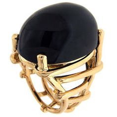 Oval Cabochon Black Jade Gold Trellis Ring